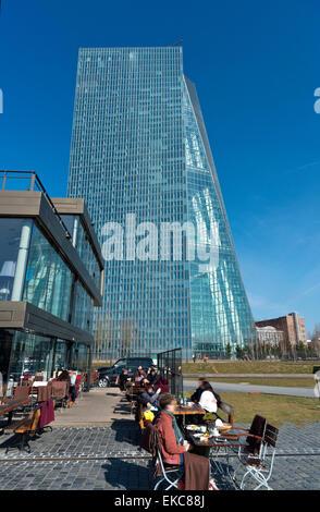 Europe, Germany, Frankfurt on the Main, European Central Bank, ECB, head office. Caffee restaurant 'Oosten' Europa, - Stock Photo