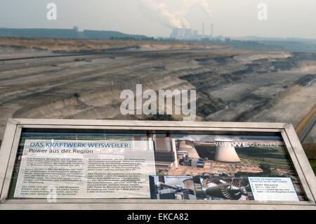 RWE Weisweiler coal-fired power station public information board - Stock Photo