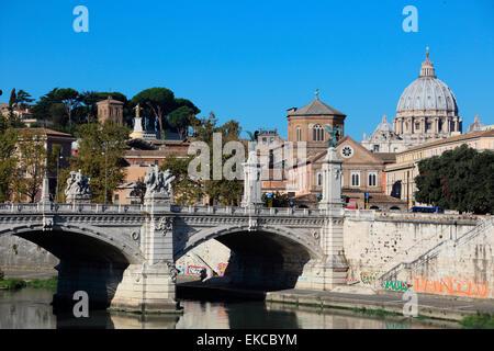 Italy Rome Ponte Vittorio Emanuele II - Stock Photo