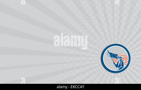 Business card American Patriot Soldier Flag Circle Retro - Stock Photo