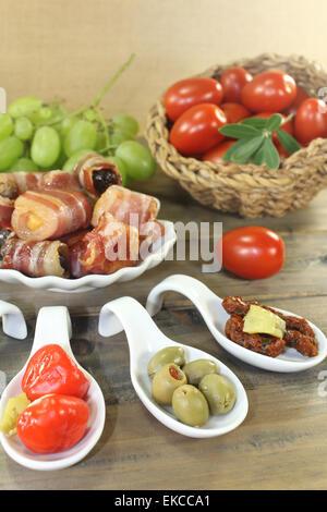 Tapas stuffed with prunes, figs, apricots - Stock Photo
