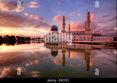 Kota Kinabalu City Floating Mosque, Sabah Borneo, East Malaysia - Stock Photo
