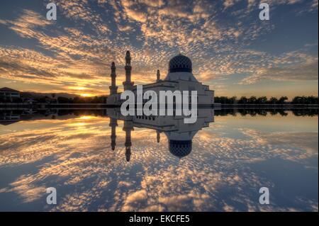 Floating Mosque at sunset, Kota Kinabalu City, Malaysia - Stock Photo