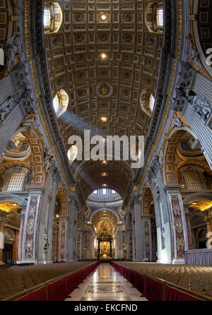 Interior view of the Papal Basilica of St. Peter in the Vatican. - Stock Photo