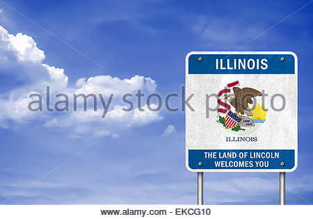 Illinois state flag icon - Stock Photo