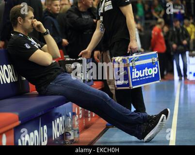 Magdeburg's coach Geir Sveinsson after the German handball bundesliga match between SC Magdeburg and THW Kiel in - Stock Photo