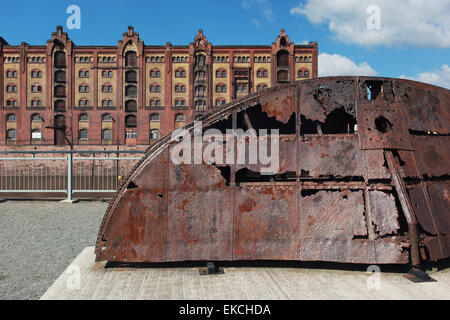 Old stern of the historical chain boat 'Gustav Zeuner'; one of the technical monuments in the commercial port. Magdeburg,Germany - Stock Photo