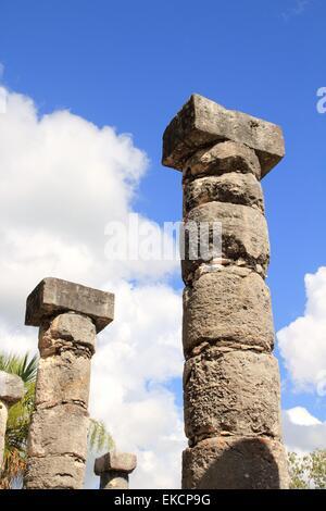 Columns Mayan Chichen Itza Mexico ruins in rows - Stock Photo
