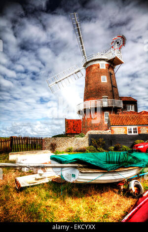 Cley Windmill is a grade II* listed tower mill at Cley next the Sea, Norfolk, England which has been converted to - Stock Photo