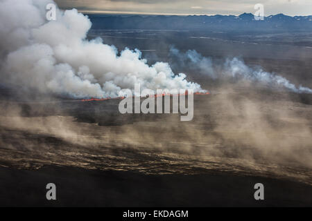 Lava and plumes from the Holuhraun Fissure by the Bardarbunga Volcano, Iceland - Stock Photo