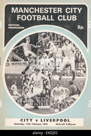 Manchester City v Liverpool football programme. 17th February 1973