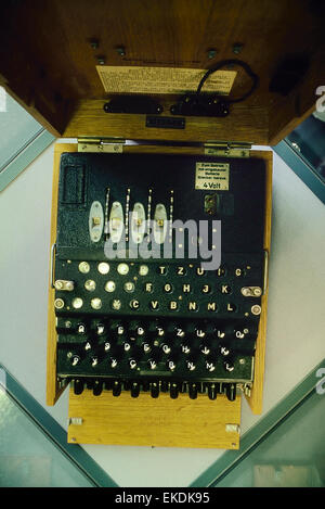 The Nazi German Enigma cipher machine used during World War II. Bletchley Park' Buckinghamshire. UK - Stock Photo