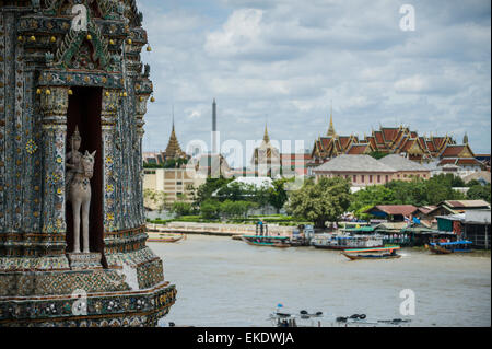 A view from the Wat Arun(temple of dawn) in the distance the Wat Pho. Bangkok Thailand. - Stock Photo