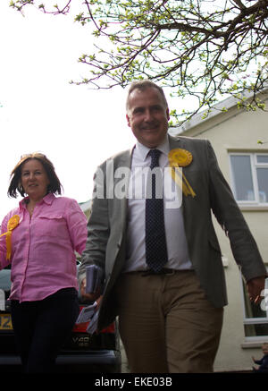 Mark Williams & Elizabeth Evans meeting voters in Ceredigion, West Wales during the General Election 2015 © Sean - Stock Photo