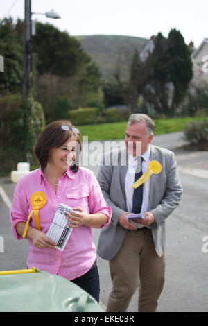 Mark Williams & Elizabeth Evans out meeting voters in Ceredigion, West Wales during the General Election 2015 - Stock Photo