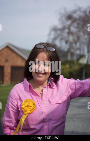 Elizabeth Evans out campaigning for Mark Williams in the General Election 2015 in Ceredigion West Wales - Stock Photo