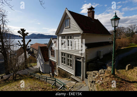 Gamle Bergen or old Bergen is an open-air museum with some 40 wooden houses in typical Norwegian style from 18th, - Stock Photo