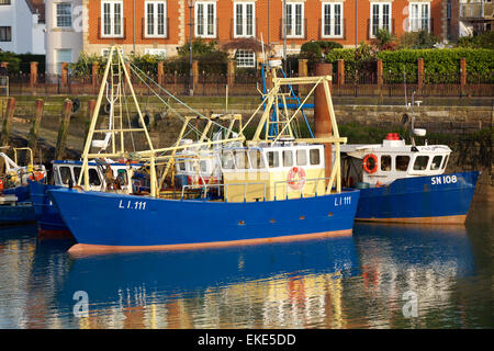 Freshly painted fishing boat moored in the Camber Docks old Portsmouth. - Stock Photo