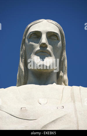 RIO DE JANEIRO, BRAZIL - MARCH 05, 2015: The face of the statue of Christ the Redeemer, one of Rio's most recognizable - Stock Photo