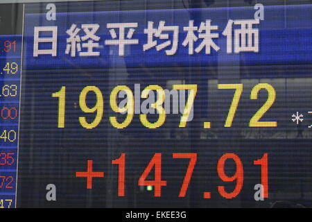 Tokyo, Japan. 9th Apr, 2015. An electronic board shows the closing price of Nikkei stock average in Tokyo on April - Stock Photo