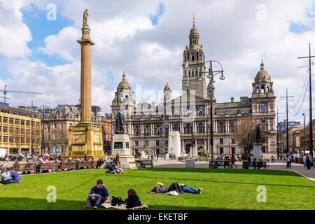 George Square, Glasgow, Scotland, UK - Stock Photo