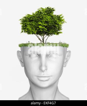 head with tree - Stock Photo