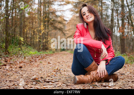 Happy girl in the forest - Stock Photo