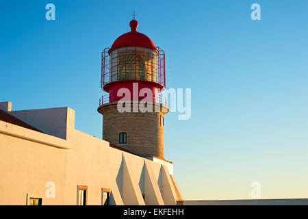 Close-up view of Cabo Sao Vicente lighthouse, Sagres, Algarve region, Portugal - Stock Photo