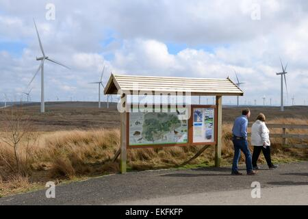Information board showing map of the largest on shore wind farm in the UK - Stock Photo