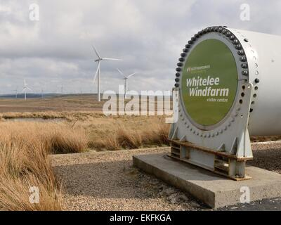 Turbine blade with bolts surrounding the Whitelee windfarm visitor centre entrance sign. - Stock Photo