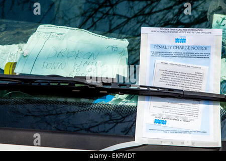 Penalty Charge Notice On A Van Windscreen,  Lewes, Sussex, UK - Stock Photo