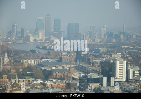 View towards East London and Canary Wharf from the Sky Garden at the top of 20 Fenchurch Street, London, England, - Stock Photo