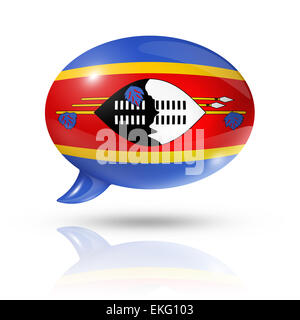 three dimensional Swaziland flag in a speech bubble isolated on white with clipping path - Stock Photo