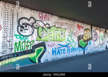 Graffiti under the bridge in the city of Bremen, Germany - Stock Photo