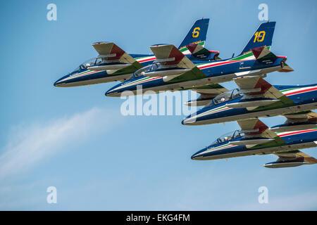Italian Air Force Frecce Tricolori Display Team RIAT 2014 - Aermacchi AT-339A aircraft - Stock Photo