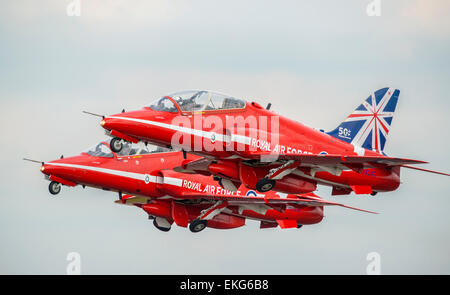 RAF Red Arrows Display team at RIAT 2014 - Stock Photo