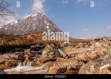 Buachaille Etive Mor, River Etive, Glencoe, Scotland, UK - Stock Photo