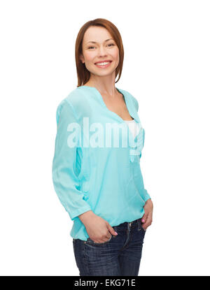 smiling woman in casual clothes - Stock Photo