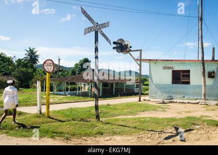Cuba Trinidad Valle de los Ingenios , Valley of Sugar Mills , Ferro Carril Crucero train rail level crossing main - Stock Photo
