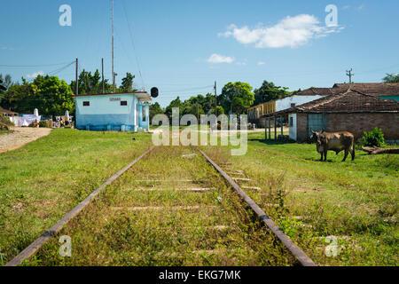 Cuba Trinidad Valle de los Ingenios Valley of Sugar Mills Torre de Manaca-Iznaga main line train station railway - Stock Photo