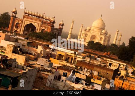 Sunset overlooking Taj Mahal. Agra, India - Stock Photo