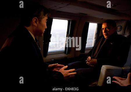 25.MARCH.2012. SEOUL  PRESIDENT BARACK OBAMA TALKS WITH SUNG KIM, U.S. AMBASSADOR TO REPUBLIC OF KOREA, ABOARD MARINE - Stock Photo