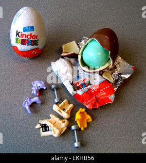 Kinder Surprise Chocolate Eggs In An Egg Box Stock Photo