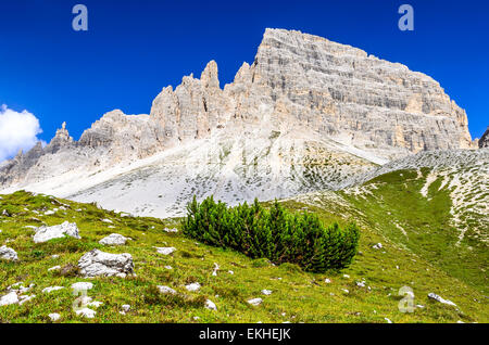 European Alps. Wilderness scenery of Sesto Dolomites in Northern Italy, South Tyrol landmark with dolomites ridge - Stock Photo