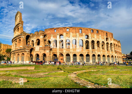 Colosseum spectacular view. Coliseum elliptical largest amphitheatre of Roman Empire ancient civilization in Rome, - Stock Photo