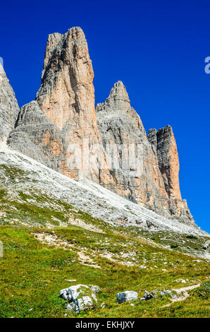 View to the famous Tre Cime di Lavaredo (Drei Zinnen) in Dolomites Mountains, one of the best-known mountain groups - Stock Photo