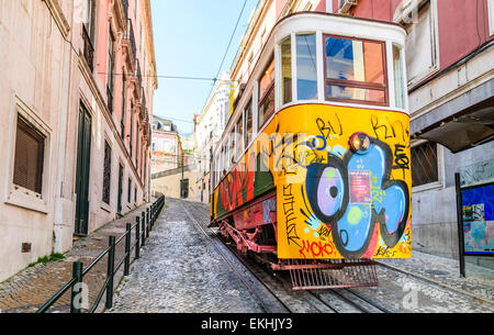 Gloria Funicular in the city center of Lisbon, National Monument in Portugal and a popular tourist attraction of - Stock Photo