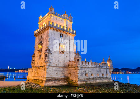Lisbon, Portugal. Belem Tower (Torre de Belem) is a fortified tower located at the mouth of the Tagus River. - Stock Photo