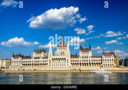 Budapest, Hungary. Hungarian Parliament building, Orszaghaz, is the seat of the National Assembly of Hungary. - Stock Photo