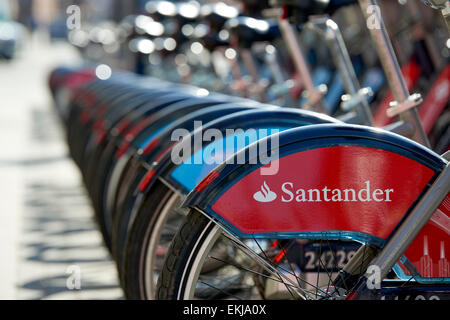 LONDON, UK - APRIL 07: Detail of Boris bikes in line. April 07, 2015 in London. On 27 February 2015, Mayor Boris - Stock Photo
